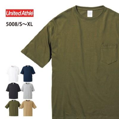 Tシャツ 無地 半袖 メンズ 白 黒 ネイビー United Athle ユナイテッドアスレ 5.6オンス ビッグシルエットTシャツ ポケット付 5008
