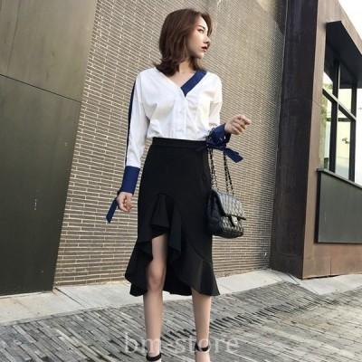 セクシーフェミニンカジュアル大人かわいいお洒落デザインマーメイドスカートボトムススカート