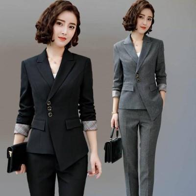 パンツスーツ 予約  黒L グレー2L ジャケット パンツ 2点セットアップ YL-XZ-X875 送料無料 OL 通勤 通学 面接 ビジネス オシャレ レディーススーツ