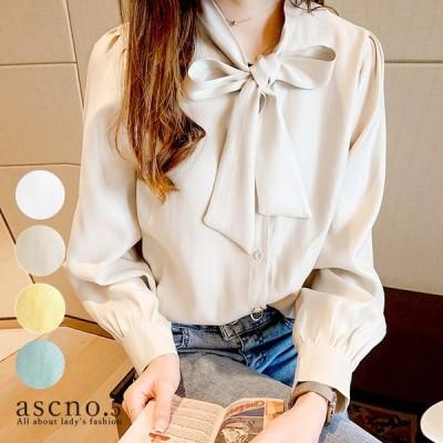 ブラウス シャツ トップス  リボン きれいめ ゆったり ラフ カジュアル シンプル きれい 清楚 秋 デイリー デート オフィス 韓国スタイル 韓国ファッション