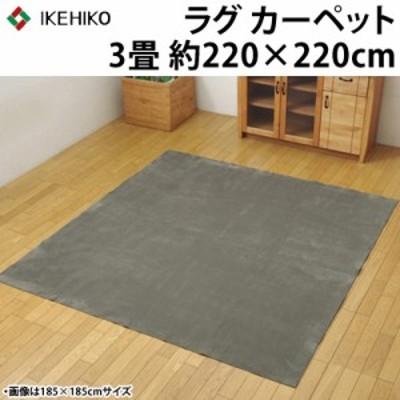 【送料無料】イケヒコ ラグカーペット 3畳 洗える 『イーズ』 グレー 約220×220cm 裏:すべりにくい加工 ホットカーペット対応 3963539