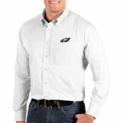 アンティグア Antigua メンズ シャツ トップス Philadelphia Eagles Dynasty Button Down White Dress Shirt