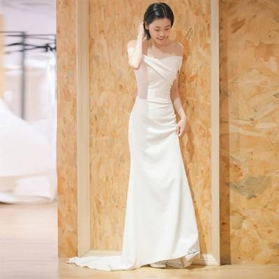 ウェディグドレス マーメイドラインドレス 花嫁 二次会 結婚式 大きいサイズ 白 パーティードレス ロングドレス 海外挙式 オフホワイト 前撮り トレーン