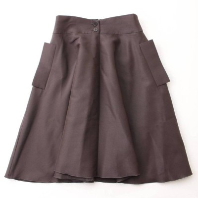 【フォクシー】Foxey フラップポケット スカート Triangle 36558 グレー 40 【中古】【正規品保証】95062
