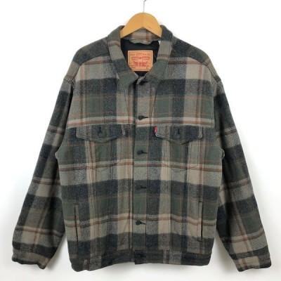 古着 Levi's リーバイス 70587 ウールジャケット チェック柄 薄中綿 キリルト裏地 オリーブ系 メンズXL 中古 n026788