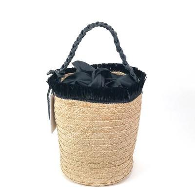 roberto pancani(ロベルト・パンカーニ)/ かごバッグ 天然ラフィア バケツ型フリンジトートバッグ