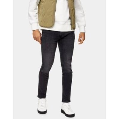 トップマン メンズ デニムパンツ ボトムス Topman skinny jeans in washed black Grey