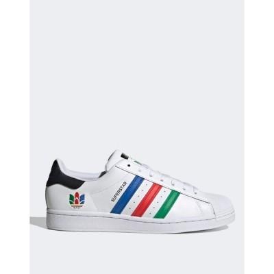 アディダスオリジナルス メンズ スニーカー シューズ adidas Originals superstar sneakers in white with multi trefoil White
