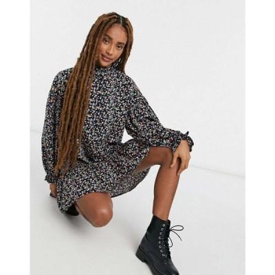 エイソス ASOS DESIGN レディース ワンピース ワンピース・ドレス Frill Collar Button Through Smock Mini Dress In Floral Print ブラック/フローラル