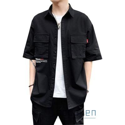 夏服 半袖シャツ メンズ 綿 ポケット付き M-4XL 大きいサイズ ストレッチ ゆったり 開襟 薄手 通気性 快適 柔らかい 軽量 通勤