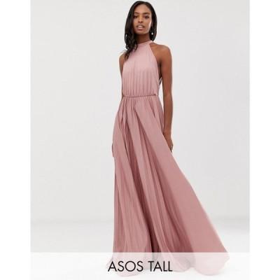 エイソス ASOS Tall レディース ワンピース マキシ丈 ワンピース・ドレス ASOS DESIGN Tall Halter Pleated Waisted Maxi Dress in rose ローズ