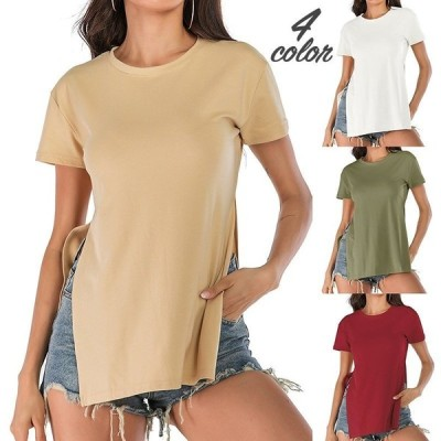 Tシャツ半袖カットソー女性レディースラウンドネックトップスシンプルサイドスリットお洒落無地セクシー可愛いお出かけシ