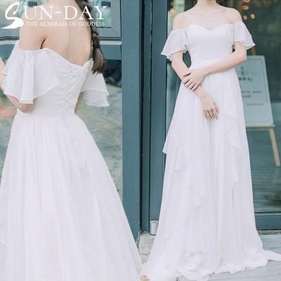 新品ウェディングドレス 結婚式 パーティードレス ワンピース 成人式 パーティー 冬 姫系 オフショルダー 花嫁ロングドレス お呼ばれ 二次会 演奏会 挙式hs6048