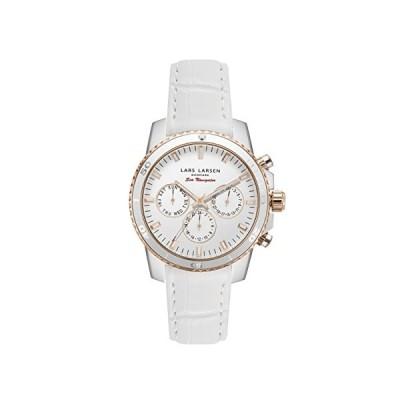 Lars Larsen LW42 Women's Quartz Watch with White Dial Analogue Display and White Leather Strap 142SWRWL 並行輸入品
