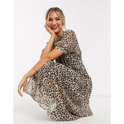 エイソス レディース ワンピース トップス ASOS DESIGN midi tea dress in leopard print