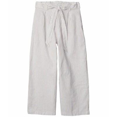 マックススタジオ レディース カジュアルパンツ ボトムス Linen Blend Tie Waist Pants Khaki/Cream Small Stripe