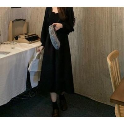 【ワンピース】ミドルレングス 細身のウエスト スクエアカラー ロングスリーブ ドレス ブラック