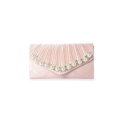 スタイルブロック STYLEBLOCK 結婚式二次会プリーツ&大きいパールパーティークラッチバッグ (ピンク)