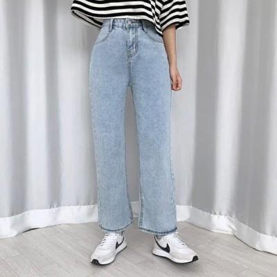 BULLANG GIRL レディース ジーンズ Wide Fit Light Blue Pants