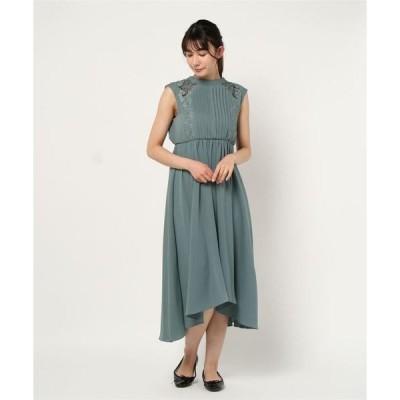 ドレス 刺繍トリミングショルダーシアーフィッシュテールワンピース