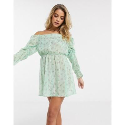 エイソス レディース ワンピース トップス ASOS DESIGN tie shoulder cowl neck chiffon beach dress in ditsy floral print