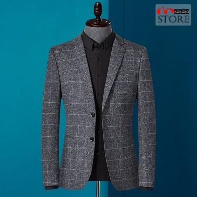ジャケット メンズ スーツジャケット テーラードジャケット ビジネスジャケット 2ツボタン チェック柄 カジュアル 通勤 春