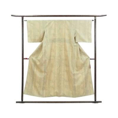 リサイクル着物 紬 正絹薄ベージュ地袷真綿紬着物