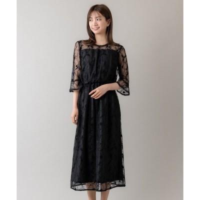 ドレス フロッキーレースフレアスリーブドレス(9R04-D140)