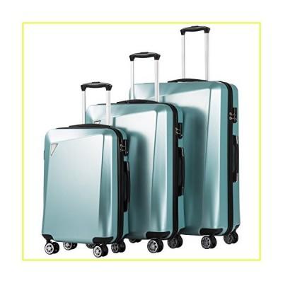 Coolife 荷物3ピースは、PC + ABSスピナースーツケース20インチ24インチ28インチを設定します。 ワンサイズ アイス