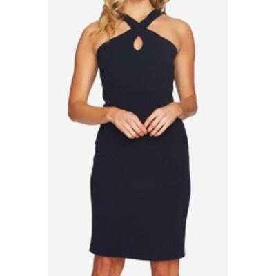 CeCe  ファッション ドレス CeCe Womens Blue Size 12 Cross Front Keyhole Halter Sheath Dress