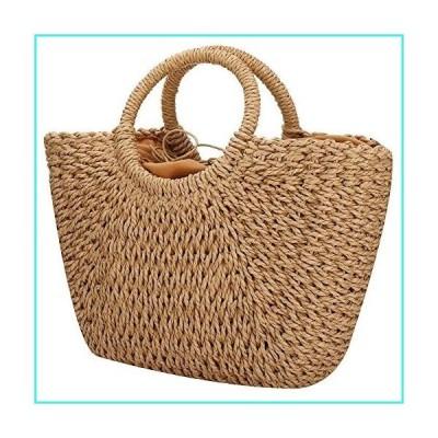 【新品】Women Summer Beach Bag, Straw Handbag Top Handle Big Capacity Travel Tote Purse Hand Woven Straw Large Hobo Bag (Brown)(並行輸入品