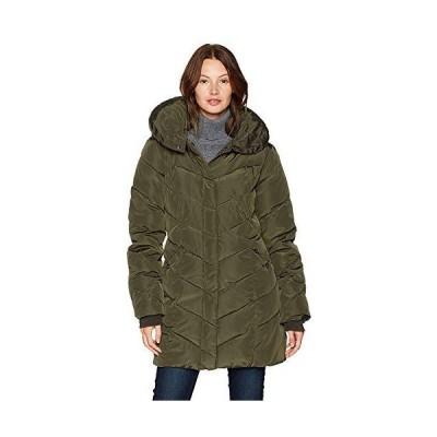 Steve Madden Women's Long Heavy Weight Puffer Jacket, Olive, Medium