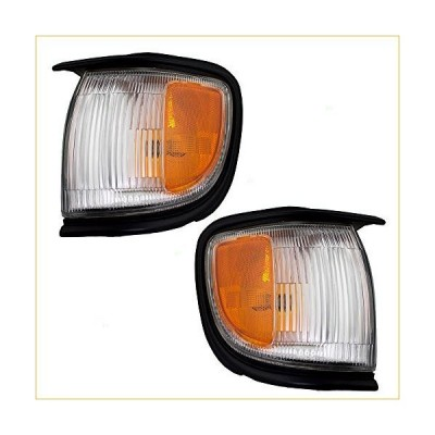 Driver and Passenger Front Corner Signal Side Marker Lights Lamps with Black Trim Replacement for Nissan SUV 261150W026 261100W026 並行輸入品