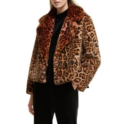 フレンチコネクション レディース ジャケット&ブルゾン アウター Analia Leopard Faux Fur Jacket RHUBARB MU