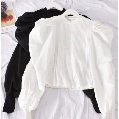 レディース 長袖 トップス ブラウス 黒 白 パフスリーブ ジュリエットスリーブ 韓国 可愛い 大人  春 秋 冬 オルチャン 衣装 返品交換不可