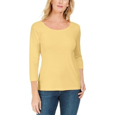 ケレンスコット カットソー トップス レディース Cotton 3/4-Sleeve Top, Created for Macy's Citron Aura