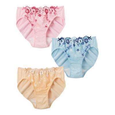 【WEB限定】サイズ別履きこみ丈 綿100%花柄刺しゅうレースサニタリーショーツ昼用3枚組(羽付ナプキン対応)(L) サニタリー(生理用ショーツ)Panties