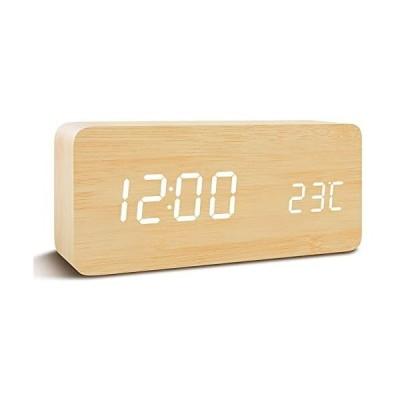 Qansi-目覚まし時計-LEDデジタル時計-カレンダー付き-乾電池対応(ベージュ)