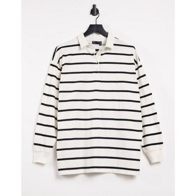 エイソス レディース シャツ トップス ASOS DESIGN oversized polo t-shirt in ecru and black stripe