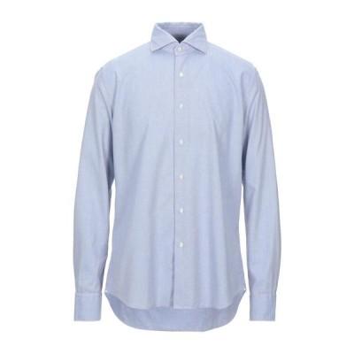 XACUS 無地シャツ  メンズファッション  トップス  シャツ、カジュアルシャツ  長袖 アジュールブルー