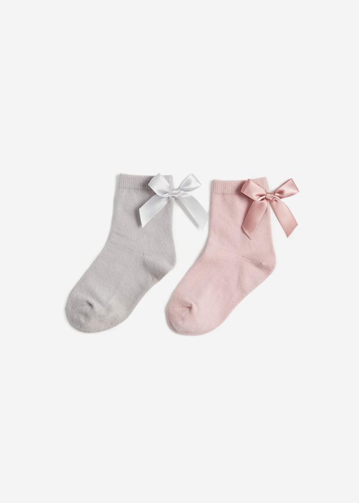 (女童二入組)蝴蝶曲.蝴蝶結中筒襪(粉色/灰色)