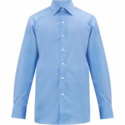 エマ ウィリス Emma Willis メンズ シャツ トップス Curved-hem cotton shirt Blue
