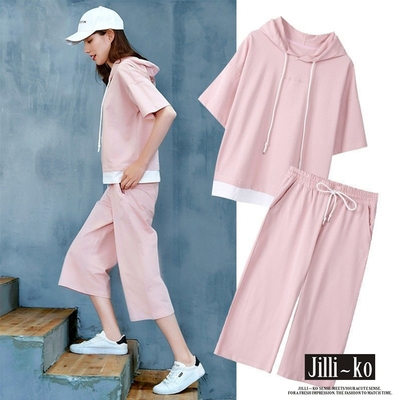 JILLI-KO 兩件套休閒連帽運動套裝- 粉紅/灰