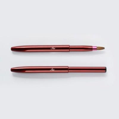 一休園 Aoi化粧筆 携帯リップブラシ・平<コリンスキー>赤 HL01 熊野筆 メイクブラシ 紅筆 フラット型 スライド式 携帯用 日本製 化粧ブラシ