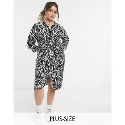 シンプリー ビー レディース ワンピース トップス Simply Be shirt dress with twist front in zebra print