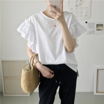 フリル袖 袖コンシャス 半袖 コットン Tシャツ カットソー トップス  大人可愛い きれいめ 春夏 お出かけ 着まわし シンプル