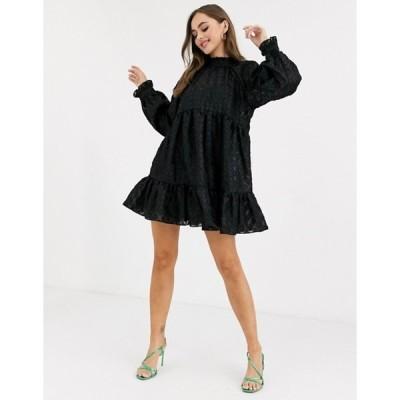 エイソス レディース ワンピース トップス ASOS DESIGN high neck tiered mini smock dress in textured organza