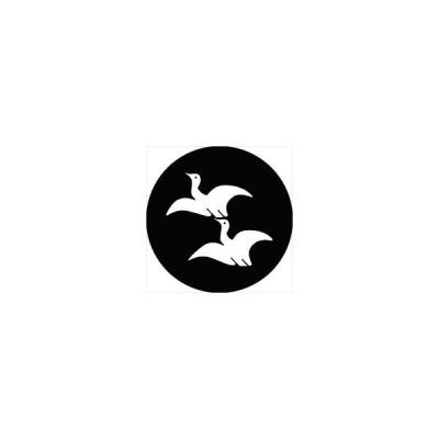 家紋シール 二羽飛び雁金紋 直径4cm 丸型 白紋 4枚セット KS44M-2505W