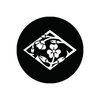 家紋シール 白紋黒地 片喰枝丸 布タイプ 直径23mm 6枚セット NS23-2822W