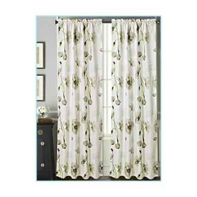 新品Sapphire Home 2 Rod Pocket Curtain Panels 84 Inches Long, Decorative Floral Print, Light Filtering Room Darking Thermal Foam Back Line